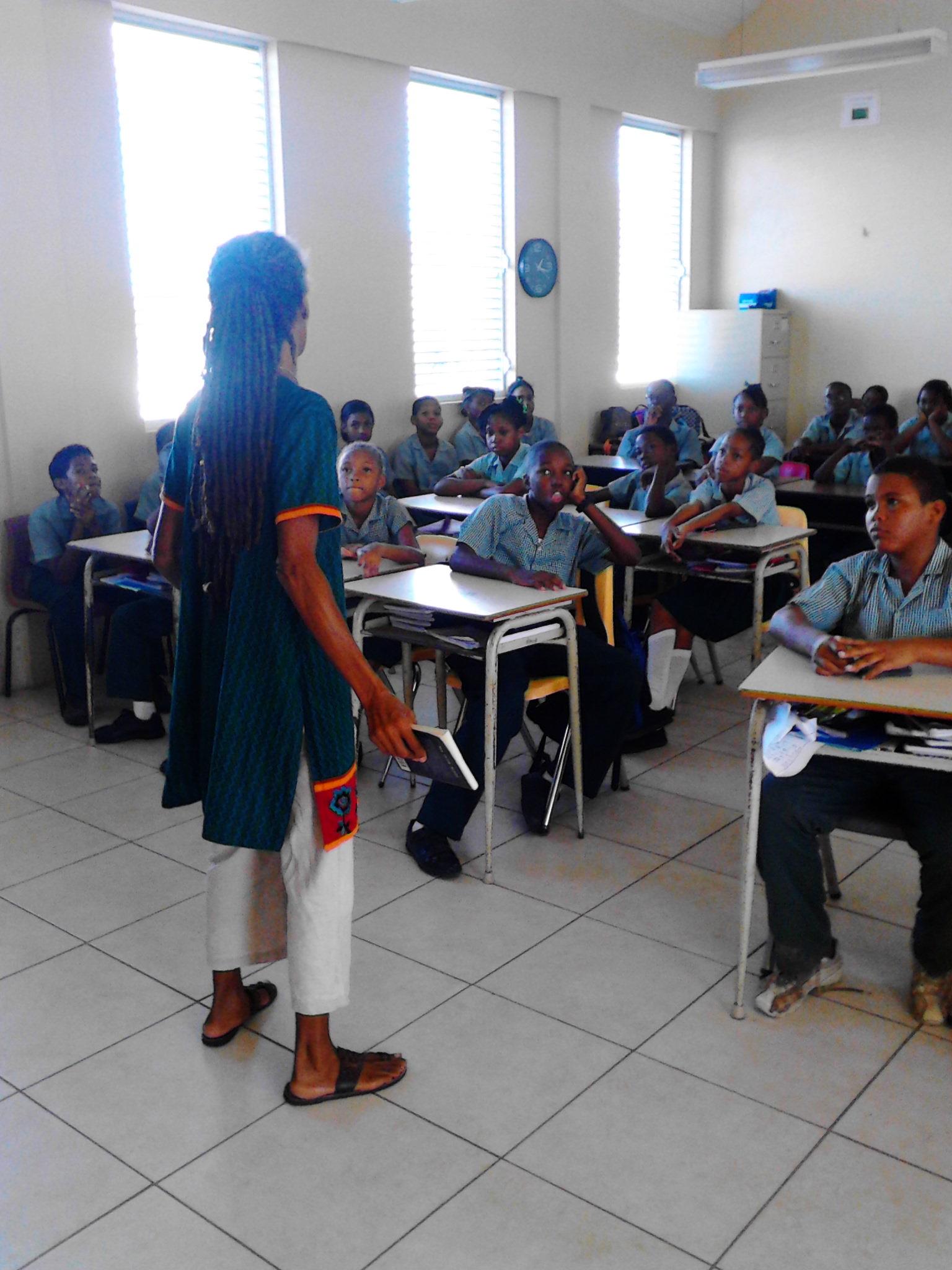 A-dZiko presenting to children at Brade's Primary School